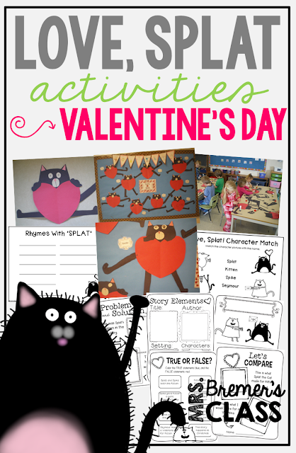 Love, Splat book activities perfect for Valentine's Day in Kindergarten or First Grade!