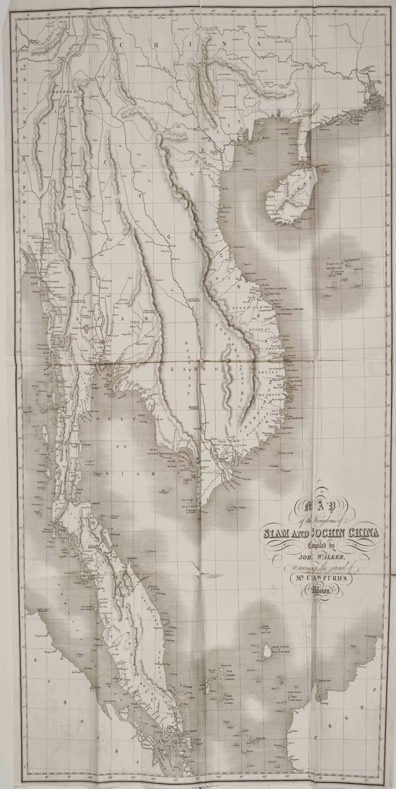 the above is the 1820 1829 john crawfurd s map of cochin china showing koh tral which was written as koh dral so it was a khmer island back in 1820