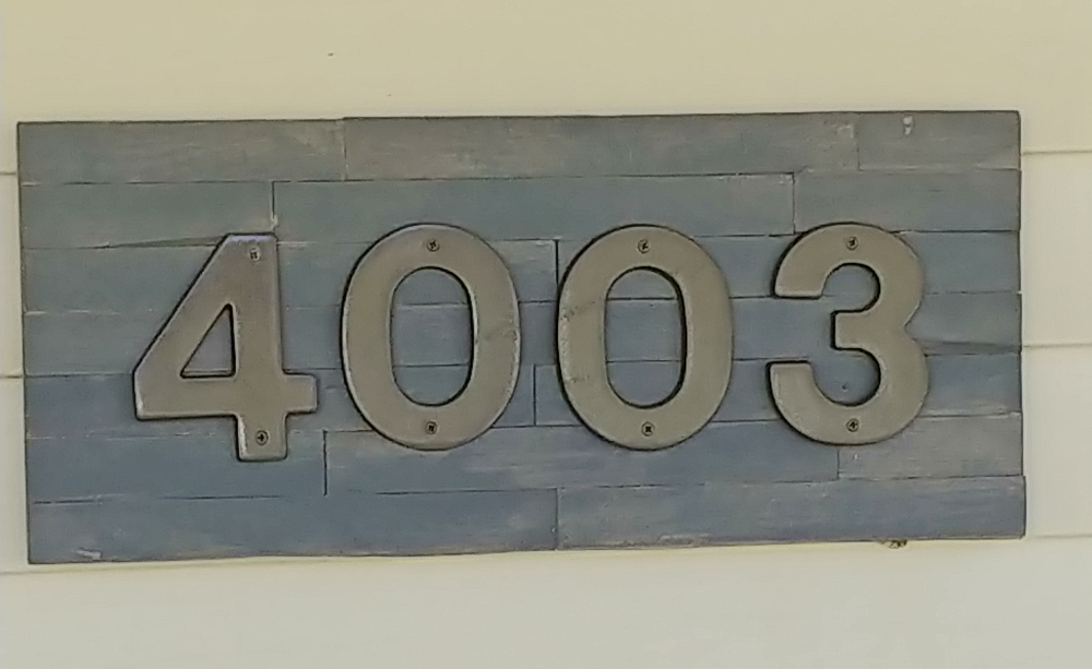 wood shim address sign
