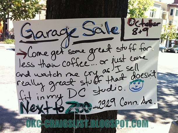 Funny Garage Sale Sign: Crybaby - GARAGE SALE SIGN-OF-THE-WEEK