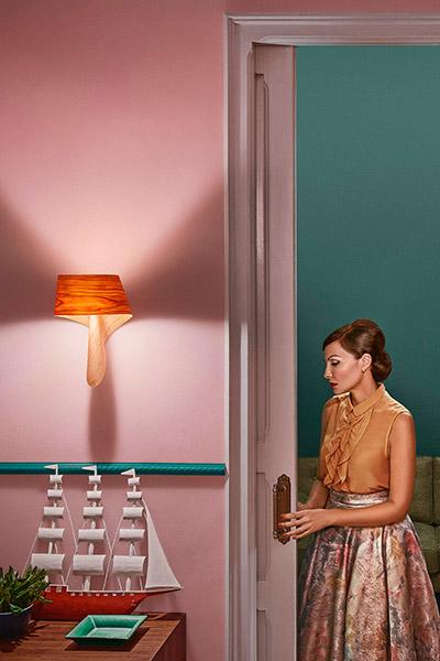 decoration fifties rose et vert luminaire design marque lzf