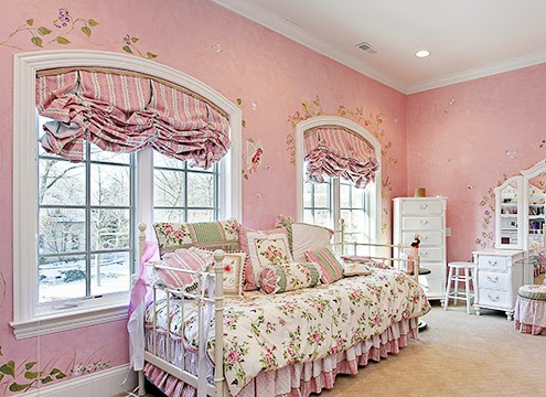 窗簾|粉紅色鄉村風女孩房
