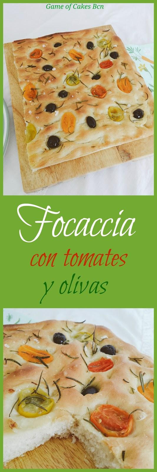 Focaccia con romero, tomatitos y olivas Game of Cakes Bcn