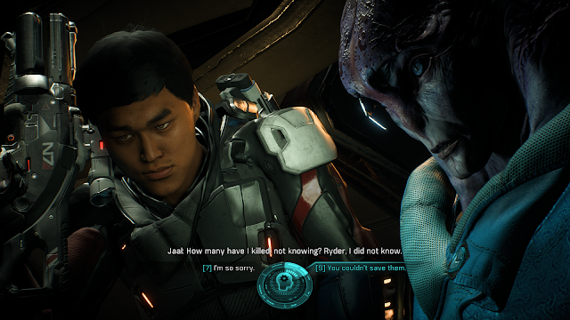Screenshot of Ryder and Jaal in Mass Effect Andromeda