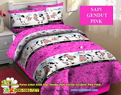Sprei Custom Katun Lokal Anak Sapi Gendut Pink Kartun Karakter Pink Putih