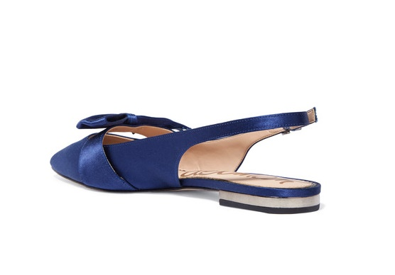 SAM EDELMAN Rizza bow-embellished satin slingback flats