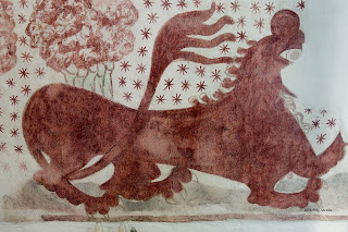 lion, mural, tail, editorial, church, fresco, denmark, claws, 1400s