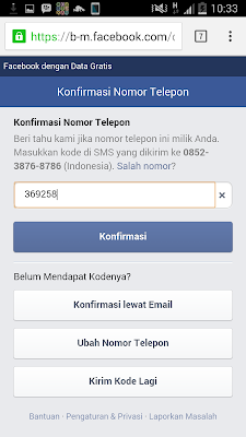 daftar facebook via HP
