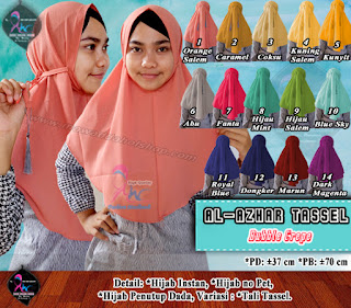 Jilbab instan bahan bubble crepe model tali murah hanya 30.000