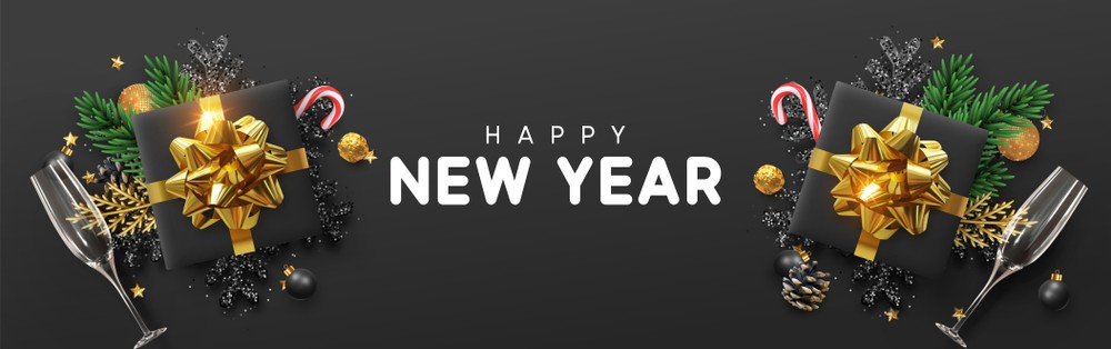 Happy New Year Invitation Header Black Images