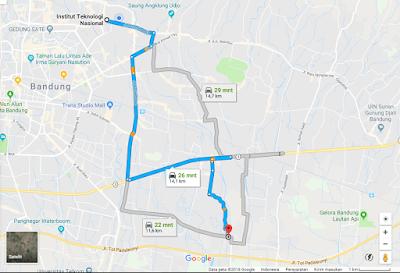 Gambar 1 Peta perjalanan menuju lokasi titik 8 Sungai Cidurian dari Kampus Itenas