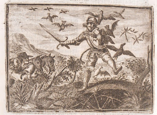 Don Quixote battling the birds, 1674