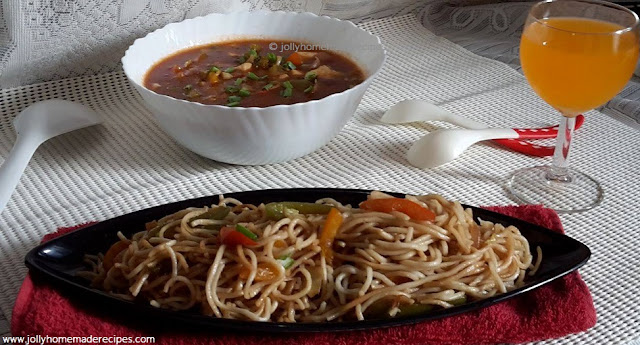 Stir Fried Vegetables in Hot Garlic Sauce with Veg Hakka Noodles