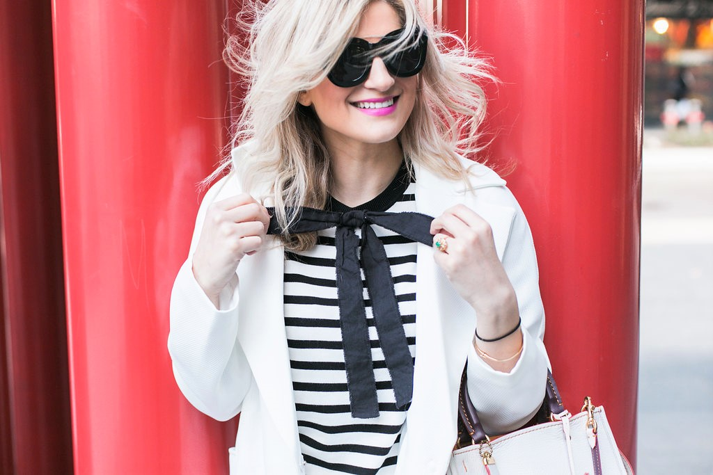 Bijuleni - White duster coat, stripe bow shirt look
