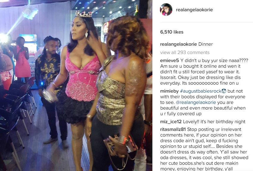Angela Okorie gets blasted by fans for flaunting excessive boobs at her birthday