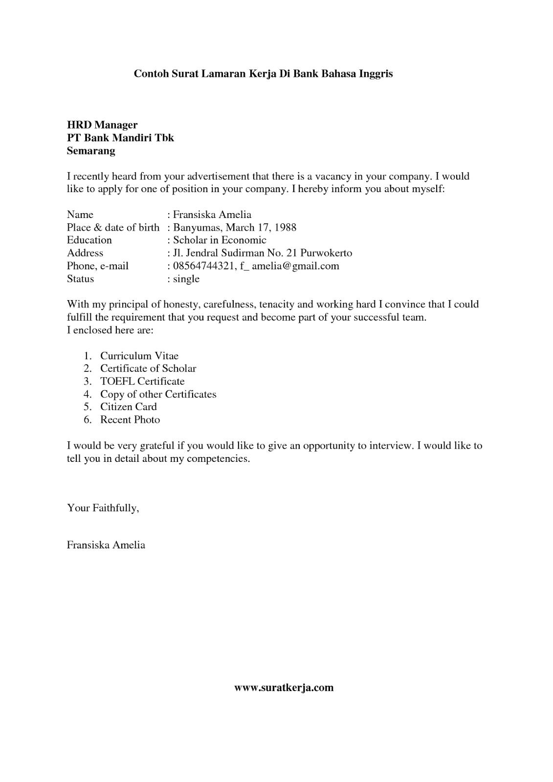 Menginginkan posisi pekerjaan sebagai apoteker maka surat lamaran. Contoh Surat Lamaran Kerja Bank - Tips Motivasi