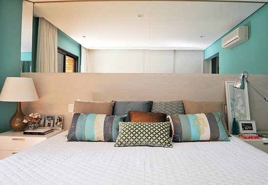 quarto de casa azul turquesa e cinza Quartos de casal pequenos , como decorar