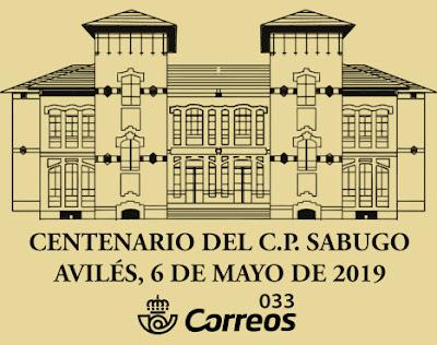 Matasellos del Centenario del colegio de Sabugo en Avilés