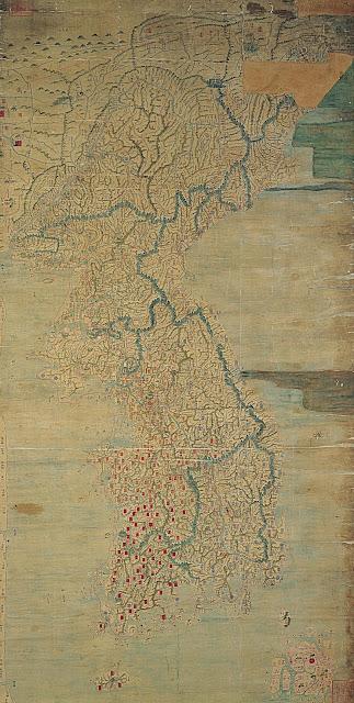 동국대지도( 東國大地圖), 조선,  세로 272.7cm, 가로 137.9cm, 보물 제1538호, 국립중앙박물관