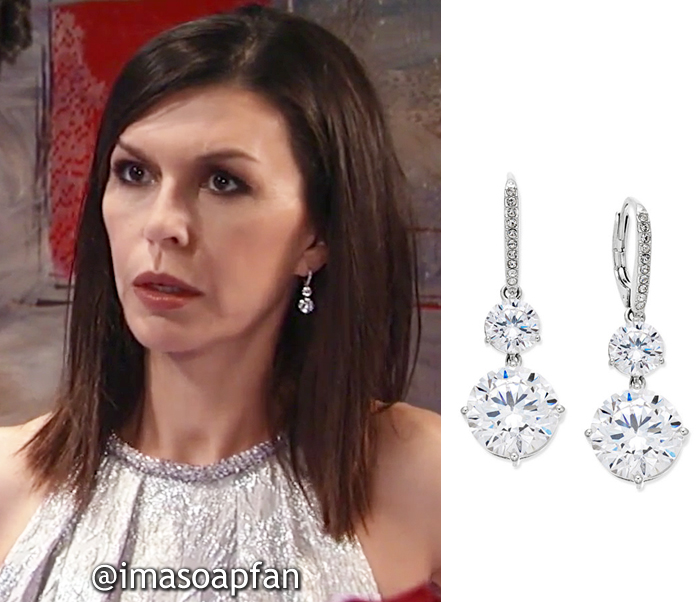 Anna Devane, Finola Hughes, Crystal Double Drop Earrings, Danori, Nurses Ball, GH, General Hospital