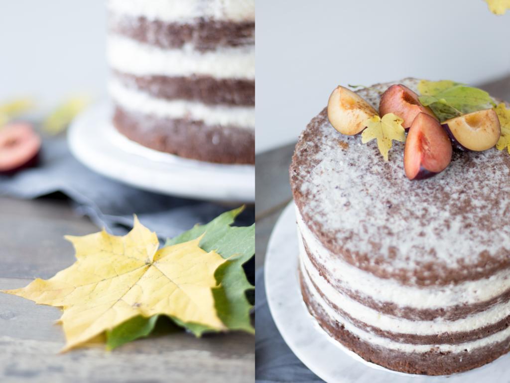 Detailaufnahmen der Torte mit Blätterdekoration