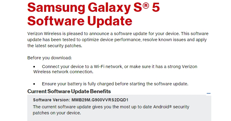 GalaxyS5Update: Verizon Galaxy S5 SM-G900V
