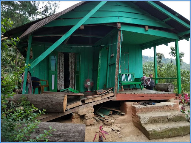 Damage house of KB Gurung in Labdah Division