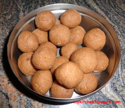 Wheat flour halwa-laddu with jaggery