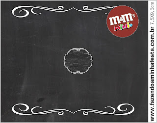 Blackboard Style, Free Printable M&M Candy Bar Labels.