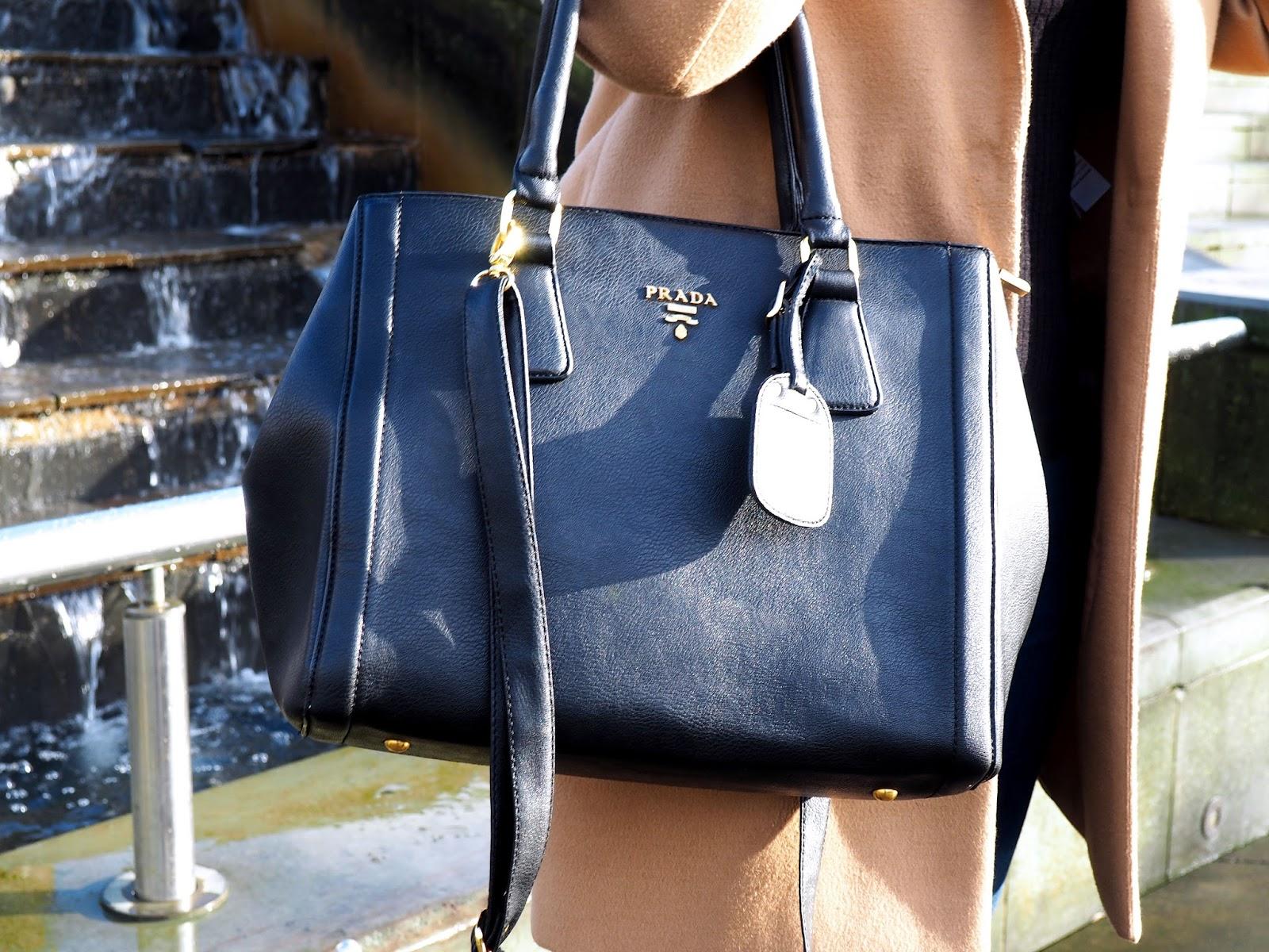 Black Prada Handbag with Gold Hardware