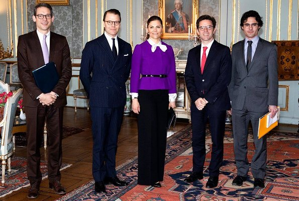 Crown Princess Victoria carried Stella McCartney Falabella shaggy deer foldover clutch and Baum und Pferdgarten blazer