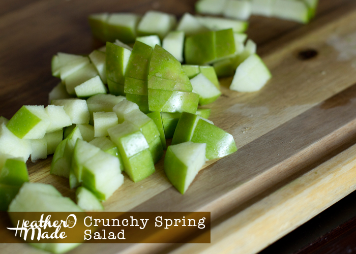 crunchy spring salad. recipe via Geoffrey Zakarian. the kitchen. easy. lunch. cucumber, lemon, apple, pine nuts, mint, olive oil