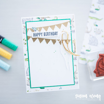 Animal Outing + Pick a Pennant by Stampin' Up! - Cute DIY child's birthday card by Susan Wong