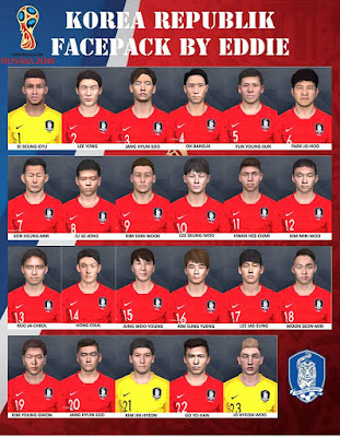 PES 2017 Facepack South Korea NT World Cup 2018 by Eddie Facemaker