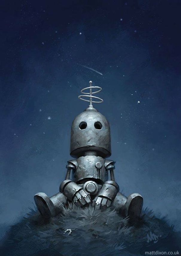 09-Matt-Dixon-Illustrations-of-Lonely-Robots-Experiencing-The-World-www-designstack-co