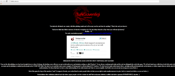 Syrian Electronic Army website hacked by Turkish hacker - Cyber