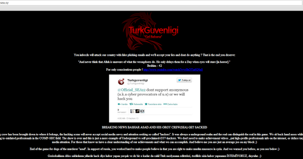Syrian Electronic Army website hacked by Turkish hacker