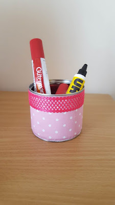 Upcycled fabric covered tin can