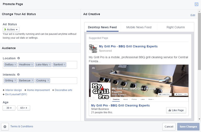 Screen shot of Facebook page promotion tool