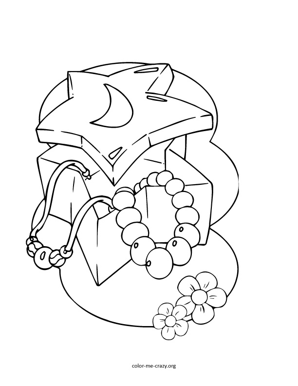 Jewlery coloring pages ~ ColorMeCrazy.org: Girls Favorite Things Printable Coloring ...