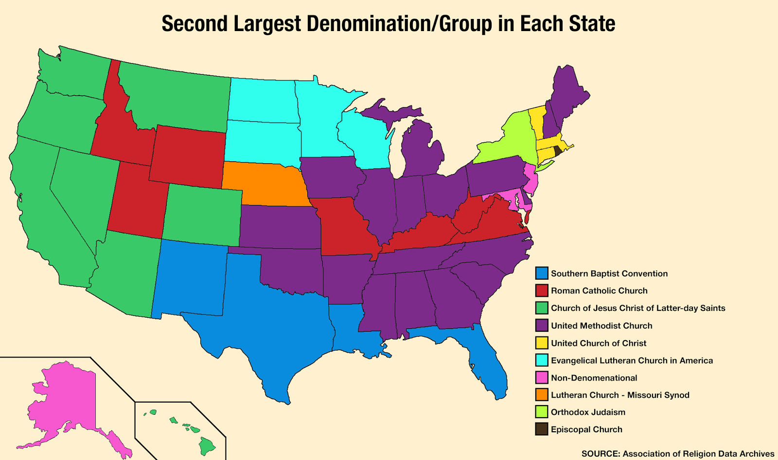 Second largest denomination/group in each state