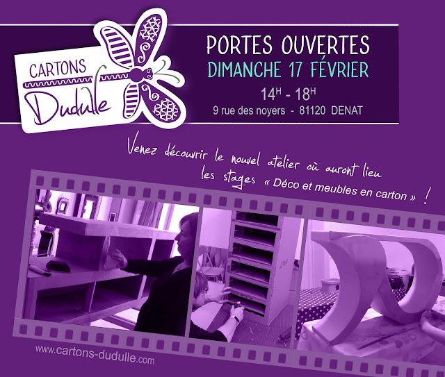 Portes ouvertes atelier Cartons Dudulle Denat 2019 - stages créatifs meubles en carton