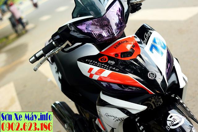 Yamaha Exciter 135 sơn tem đấu màu trắng cam đen