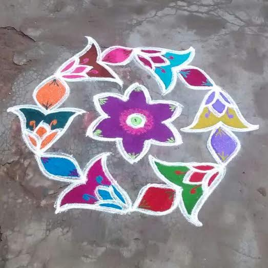 Charmant Simple Rangoli Design For Home, Competitions, Housewarming #2: