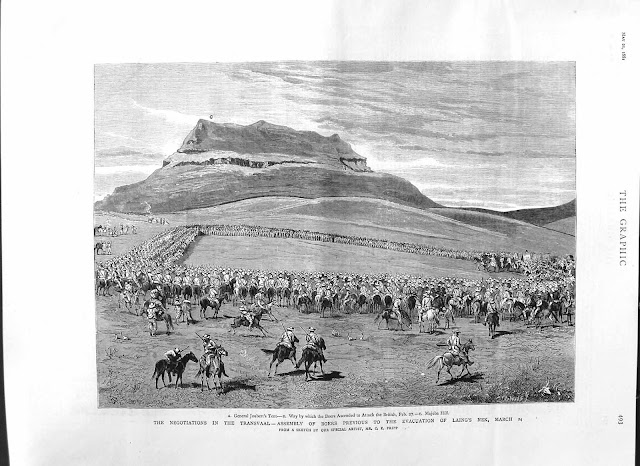 Contemporary imagination of Joubert's commandos assembling below Majuba Hill before the peace negotiations