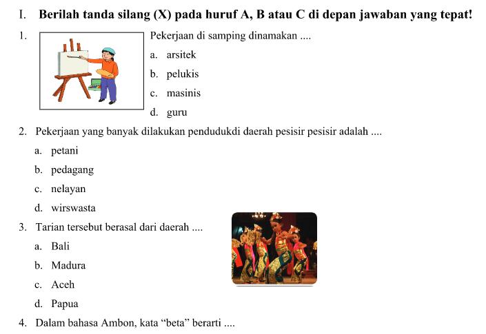 Soal UTS Kurikulum 2013 Kelas 4