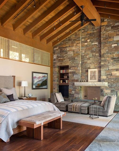 Hogares frescos 19 dormitorios elegantes ideas con muro de piedra - Decoracion muros interiores ...