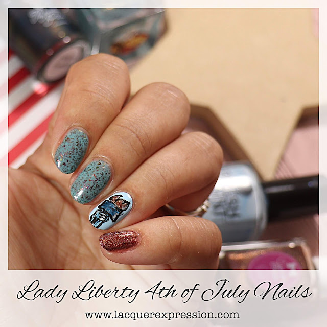 Lady Liberty's Torch Independence Day Patriotic Nail Art Design for the 4th of July
