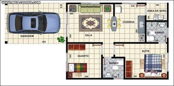 Casa de dois quartos e um banheiro