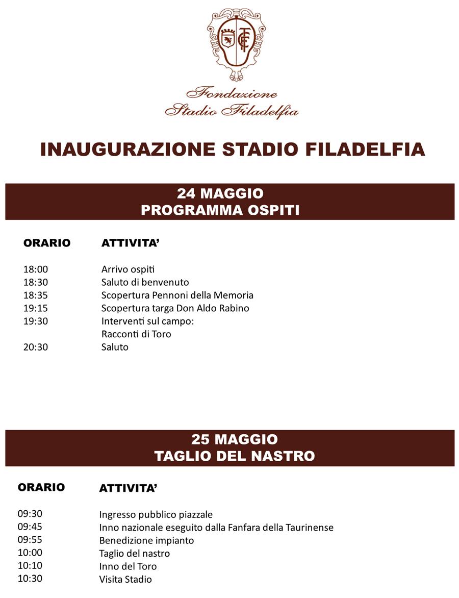 programma inaugurazione filadelfia torino 24 25 maggio